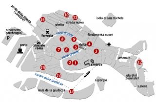 Mappe delle chiese di Venezia del circuito 'Chorus'